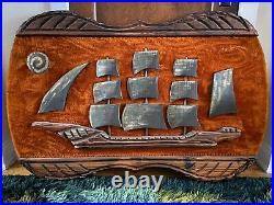 Very Rare Witco Carved Wall Art Of Ship Retro Mid Century Vintage Tiki