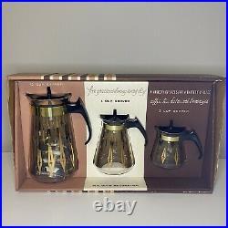 Vintage 14k Gold Pyrex Decoration Beverage Serving Trio 4700 with Box NOS Rare