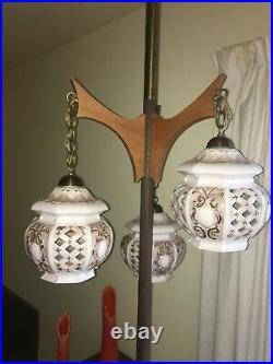 Vintage 1950s Mid Century Modern Danish Teak Tension Lamp Atomic Rare