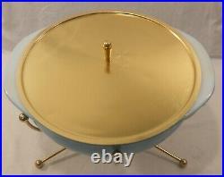Vintage 50s RARE Turquoise 2qt PYREX Casserole Warmer Atomic Sputnik UFO