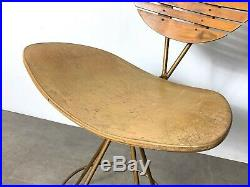 Vintage Arthur Umanoff Iron Swivel Slat Bar Stool Raymor Mid Century Modern Rare