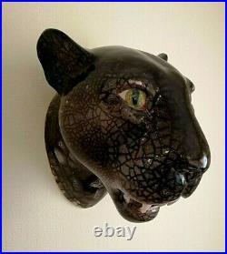 Vintage BIG Ceramic Panther Head Wall Plaque. Rare