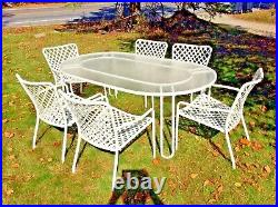 Vintage Brown Jordan Dining Set 6 Chairs Rare Table Patio Garden Tamiami MCM