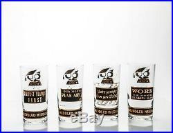 Vintage Georges Briard Muddled Wisdom Glasses / Tumblers, Set of 8 Rare