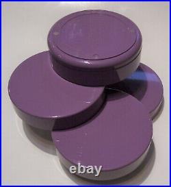 Vintage InterDesign swivel desk dresser organizer box rare lavender plum 5x5 MCM