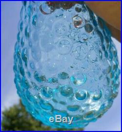 Vintage Italian Rare Light Pale Blue Hobnail Glass Genie Bottle With Stopper 22