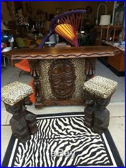 Vintage KILLER Rare 1960s MCM Witco Tiki Bar Graceland Polynesian African