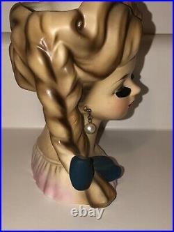Vintage Lady Head Vase Famous Rare Braid Girl