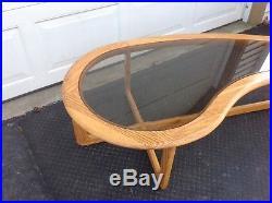 Vintage Lane Mid Century Modern Kidney Shaped Walnut Coffee Table Gl Top Rare