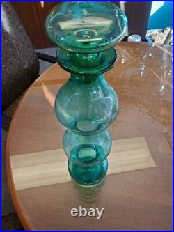 Vintage MCM Wayne Husted HUGE Blenko Glass Gurgle Decanter RARE