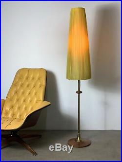Vintage Mid Century Danish Modern Rare Modeline Floor Lamp Walnut Brass Pearsall