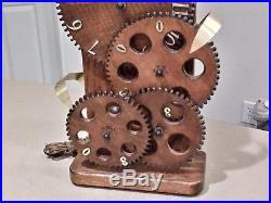 Vintage Mid Century Modern Industrial Wooden Gear Clock WORKING RARE