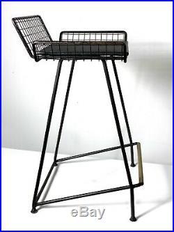 Vintage Mid Century Modern Iron Wire Brass Counter Bar Stool Tony Paul Rare