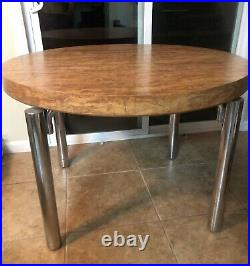 Vintage Mid Century Modern Round Faux Burl Wood Chrome Dining Table With Leaf Rare