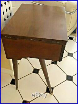 Vintage Mid-Century Modern Sewing Machine Cabinet Mahogany SLEEK SLANT LEGS-RARE