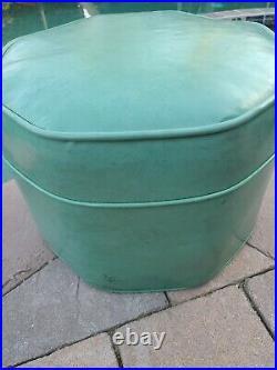 Vintage Mid Century Modern Turquoise Blue Green Vinyl Ottoman Foot Stool RARE