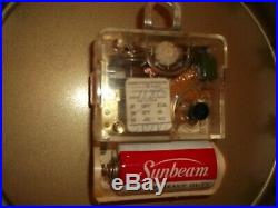 Vintage Mid Century Modern VERICHRON Starburst Brass & Wood Wall Clock RARE
