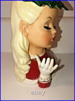 Vintage Napco 1954 Christmas Lady Head Vase CX2708 Rare