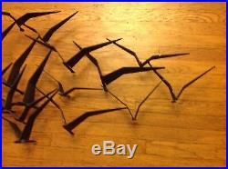 Vintage Original MID Century Modern Birds In Flight Metal Wall Sculpture! Rare