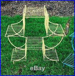 Vintage Plant Stands MCM Mid Century Asian Pagoda Wire Shelf Shelves Rare Fun
