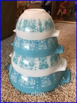 Vintage Pyrex Amish Butterprint Cinderella Mixing Bowl Set Turquoise RARE Mint