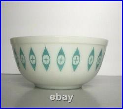 Vintage Pyrex Atomic Eyes Unmarked Large Mixing Chip Bowl Rare Mid Century Mod