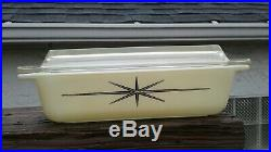 Vintage Pyrex Atomic Starburst Space Saver Casserole Lid 2 Qt Tan 1960 Rare HTF