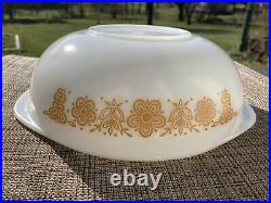 Vintage Pyrex BUTTERFLY GOLD 024 2qt casserole dish with Lid RARE HTF BFG