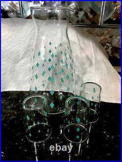 Vintage Pyrex Diamonds Atomic Star Carafe Pitcher With Glasses Htf rare
