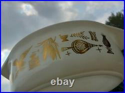 Vintage Pyrex Early American 043 Casserole Dish Lid Gold on White RARE HTF