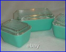 Vintage Pyrex Rare Robin Egg Blue Set of 3 Refrigerator Dishes withLids, Nice