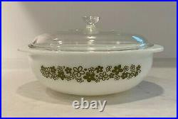 Vintage Pyrex SPRING BLOSSOM GREEN 024 2qt casserole dish with Lid RARE HTF