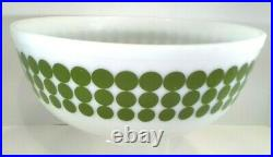 Vintage Rare'70s 404 Pyrex Green Dot Large mixing Bowl Beautiful 4Qt