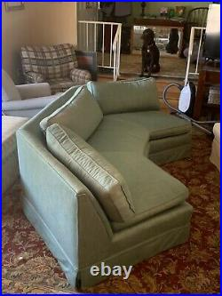Vintage Rare BayWindow Curved Sofa Couch 36w x 108 Mint Green DOWN Cushions