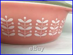Vintage Rare HTF Pyrex Pink Stems Branch Leaf Oval Casserole Dish 043 with Lid