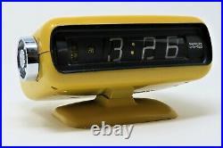 Vintage Rare Mid Century Modern Sankyo YELLOW Flip Roller Clock Works/Tested