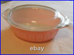 Vintage Rare Pyrex Pink Stem Casserole & Lid 1 1/2 Quart, very nice