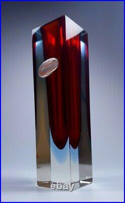 Vintage Rare Vaseline Mandruzzato Multi Sommerso Murano Faceted Art Glass Vase