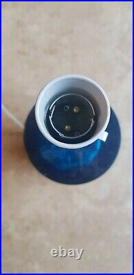 Vintage Retro Mid Century Shatterline Crushed Ice Table Lamp Rare Colour Blue