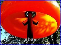 Vintage Space Age Plastic UFO Ceiling Pendant Lamp Vintage 70's Orange. Rare