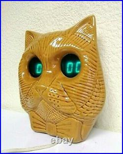Vintage Space Age Soviet Electronika Ceramic Clock Cat Nixie Tube Clock. Rare