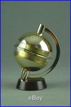 Vintage Sputnik HUGER Clock & Thermometer Brass & Wood Art Deco 60s 70s 80s RARE