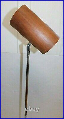 Vintage Teak Cylinder Danish Mid Century Modern Floor Lamp Reading Accent RARE