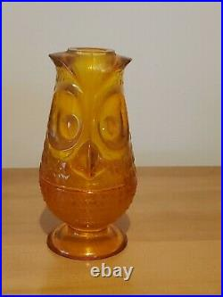 Vintage Viking Glass Owl Candle Fairy Lamp Rare Persimmons Color