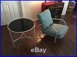 Vintage Warren McArthur table and chair rare original matte glass table top