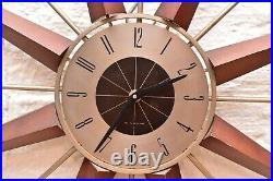 Vintage Wingard RARE Starburst Atomic Age MCM 27 Wood Metal Sunburst Wall Clock
