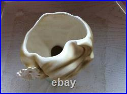 Vintage lady head vase planter green dress 8.5 Japan rare eye lashes flowers