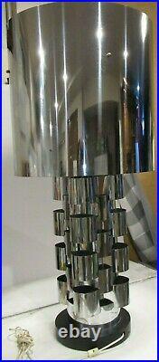Vtg Curtis Jere Skyscraper Interplay chrome table lamp barrel shade MCM RARE