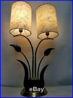 Vtg MCM Mid Century Fiberglass Lucite Shade 2 Light Table Lamp Rare 1960's 3 Way