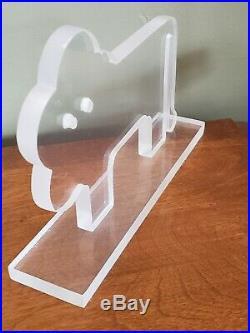 Vtg Mid Century Modern Team Guzzini Acrylic Lucite LION Sculpture SIGNED! RARE